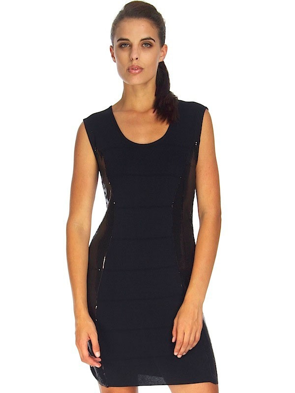 BLACK SEQUIN COCKTAIL DRESS