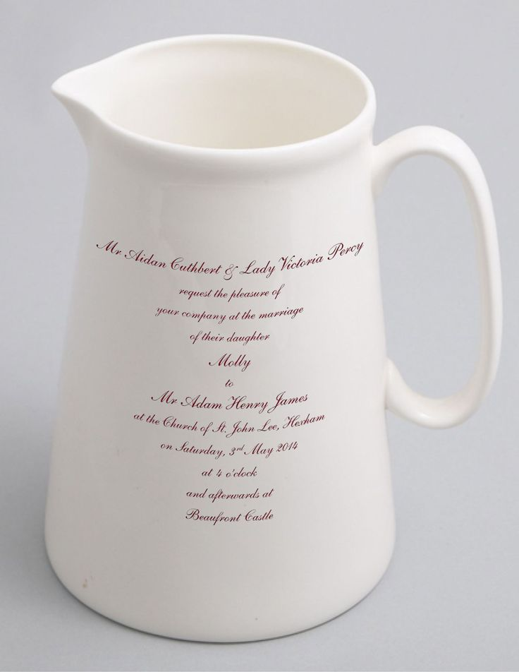 Don't discard your spare wedding invitations...send us one and we will turn it into a beautiful and useful jug, teapot or platter.