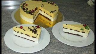 Рецепт Торт Манго, пошаговый видео рецепт, торт изготавливается на основе натурального пюре из сочных плодов манго и творога. Это очень вкусно, красиво Домаш...