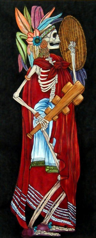 guerrero azteca pintura realisada en lino