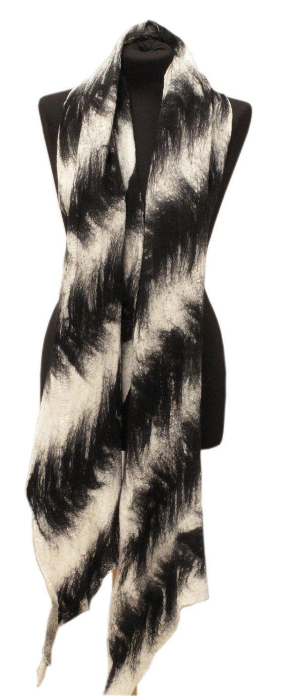 Felted scarf Black and white scarf Fur like by SlowlabFirenzeFelt