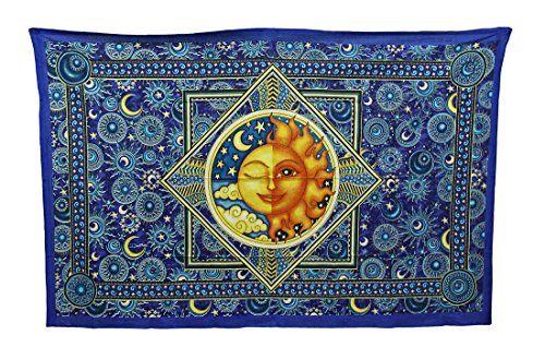 Dan Morris Celestial Sun and Moon Tapestry Wall Hanging Zeckos