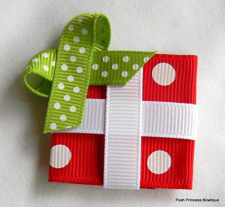 Christmas gift ribbon sculpture present ribbon hair bow. $3.75, via Etsy.