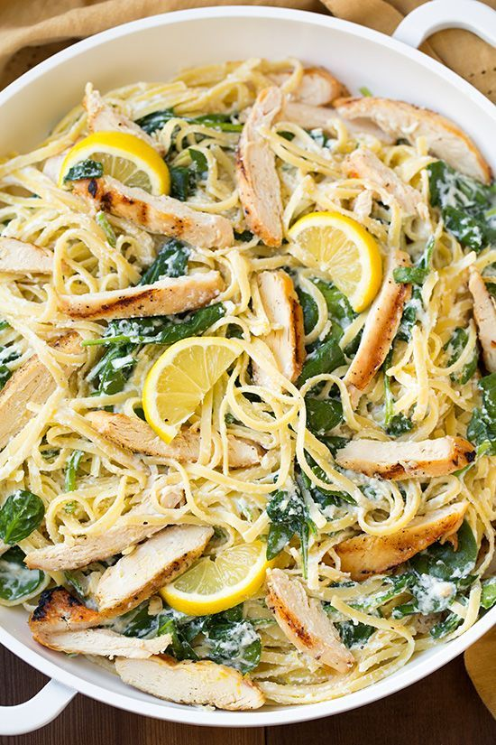 Lemon Ricotta Parmesan Pasta with Spinach and Grilled Chicken #pasta #chicken #recipe