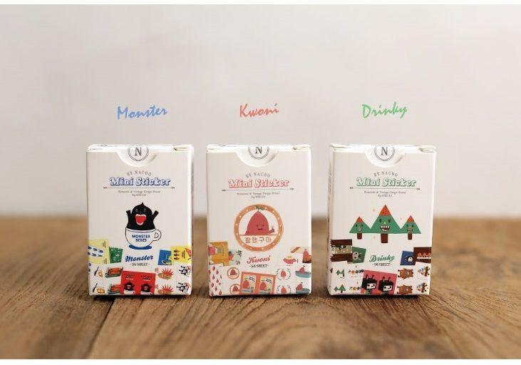 3 packs of sticker - Monste & Kwoni & Drinky (96 sheet x 3 packs = 288 sheet)