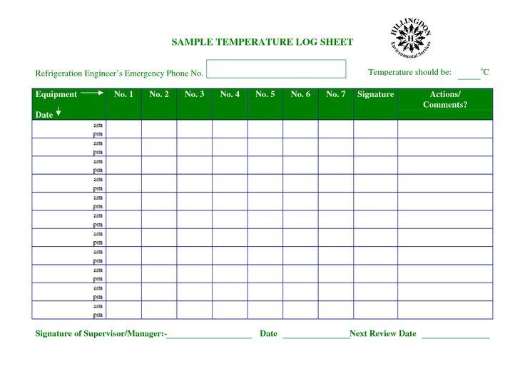 Temperature Chart Template Temperature Log Sheet