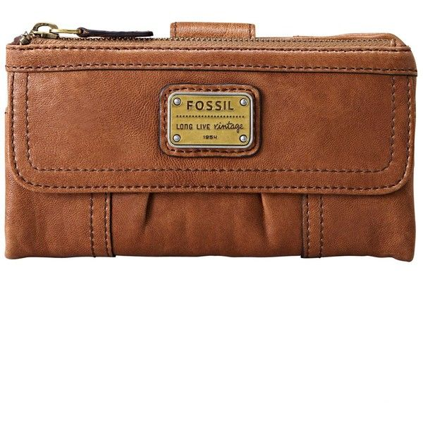 Fossil Emory Leather Clutch Wallet ($65) ❤ liked on Polyvore featuring bags, wallets, saddle, genuine leather bag, leather boho bag, leather wallet, leather clutch wallet and logo bags