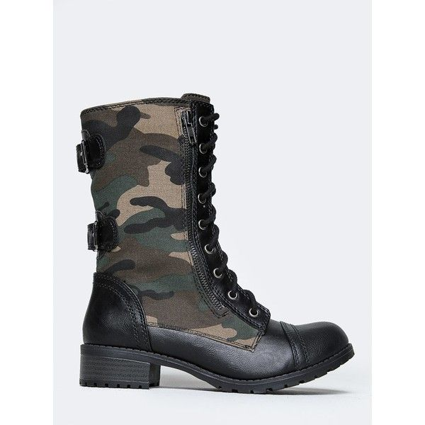 CAMOUFLAGE COMBAT BOOT (1 050 UAH) ❤ liked on Polyvore featuring shoes, boots, green, combat boots, military boots, green military boots, buckle combat boots and soda boots