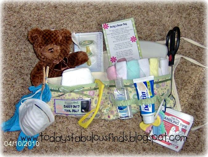 Important Items Included:  Tongs (dollar store) Mask (dollar store) Small box of wet wipes (Wal-Mart) Set of pacifiers (Wal-Mart) Toy keys (dollar store) Washrags (dollar store) Stuffed bear (dollar store) Hand Sanitizer (Wal-Mart) Baby lotion (Wal-Mart) Goggles (dollar store) Desitin Diaper Rash Cream (Wal-Mart) Plastic Gloves (Lowes) 2-Newborn Diapers (actually had them already, they make GREAT doll diapers)