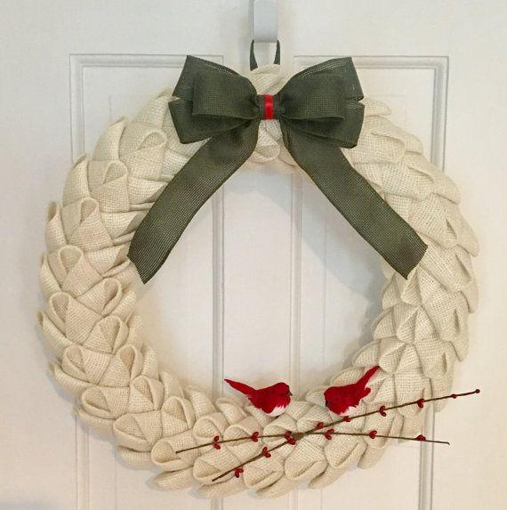 Burlap Petal Christmas Wreath White Wreath by CircleDecorWreaths