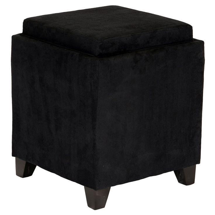 Black Square Shape Storage Ottoman Solid Pattern Foam Microfiber Contemporary Microfiber Upholstery Wood Frame Durability Pedestal Feet Create Dark