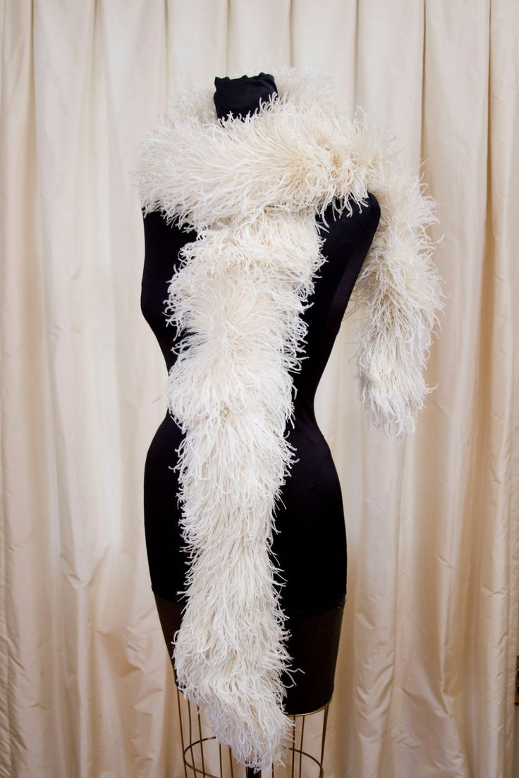 Ostrich Feather Boas   1920's 1930's Ostrich Feather Boa in White by GarbOhVintage
