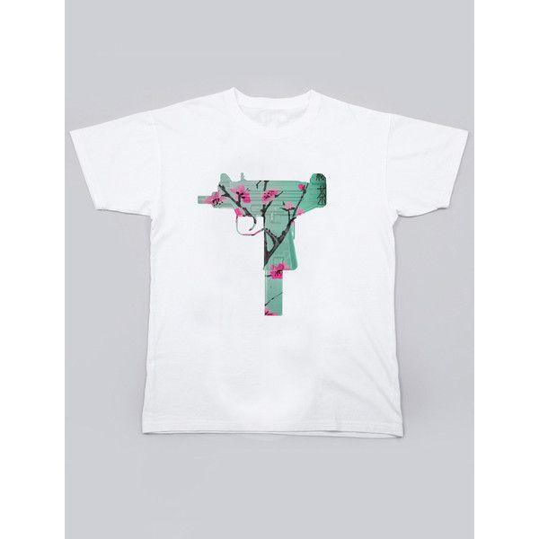 UZI Ginseng Tee Medium-XL ($7) ❤ liked on Polyvore featuring tops, t-shirts and uzi