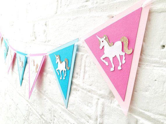 Stamina di Unicron compleanno ~ principessa compleanno galand arredamento ~ unicorno party a tema arredamento ~ festa unicorno rosa e blu bunting ~ unicorno arredamento