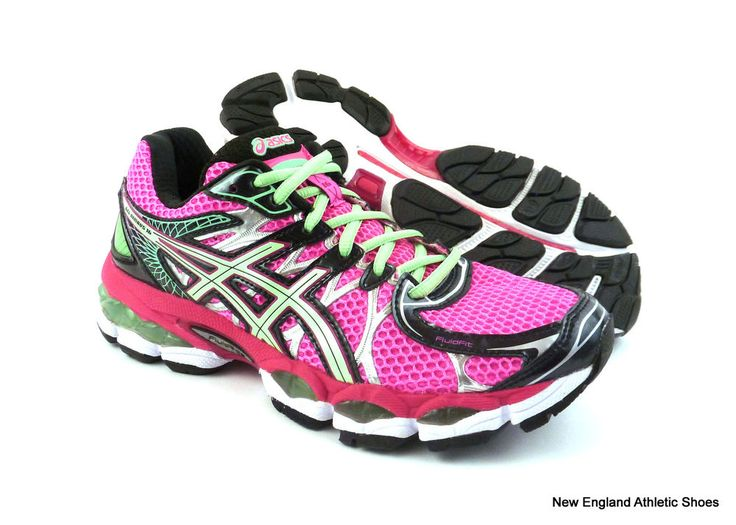 Asics women Gel-Nimbus 16 (D) wide running shoes size 6 - Pink / Green / Black #ASICS #RunningCrossTraining