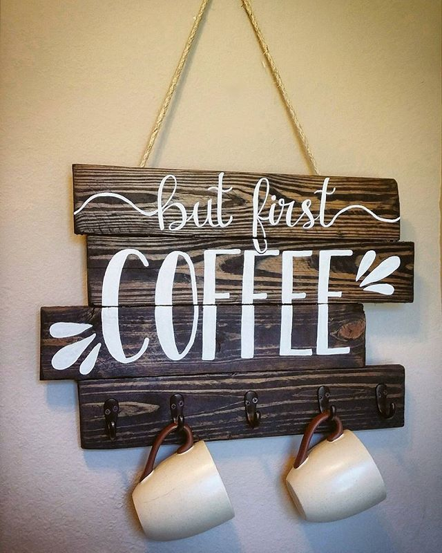 "Handwritten, Handpainted 20"" by 14"" Coffee Mug Holder On Reclaimed Pallet Board Sign. 5 brass finished hooks and hung by rope (removable) 