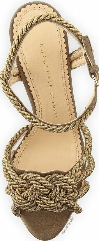"~Charlotte Olympia's ""It's Knot You"" gold rope sandal 