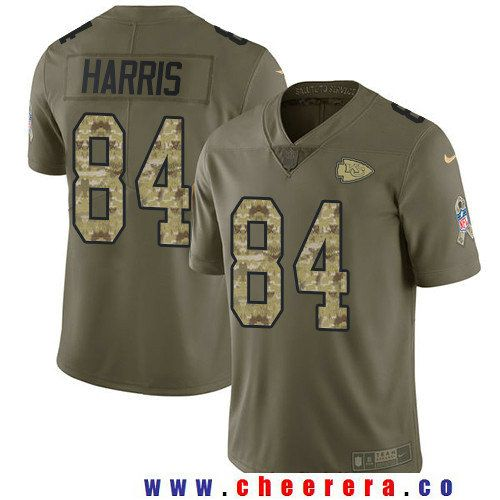 Men's Kansas City Chiefs #84 Demetrius Harris Olive with Camo 2017 Salute To Service Stitched NFL Nike Limited Jersey