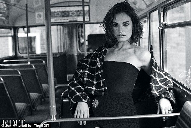 Smoking hot: Lily James smouldered in the high-fashion photoshoot for Net-a-Porter's weekl...