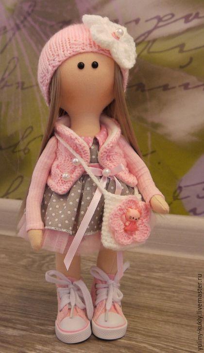 Коллекционные куклы ручной работы. Ярмарка Мастеров - ручная работа. Купить Текстильная куколка малышка Лули. Handmade. Бледно-розовый