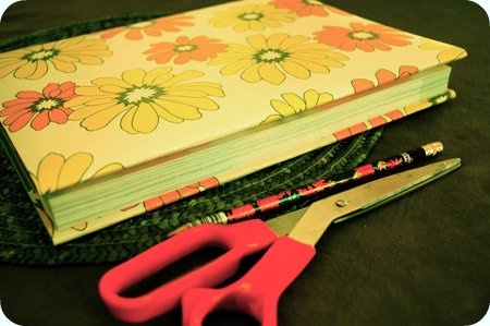 covering school books in wallpaper!
