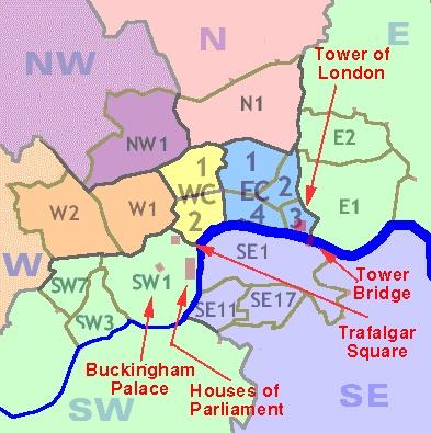 London WC postcode map