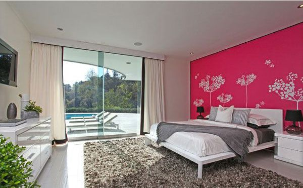 20 Bedroom Color Ideas: The Beautiful Pink Flower Wall In The Grey Bathroom ~ Myzestyliving.com