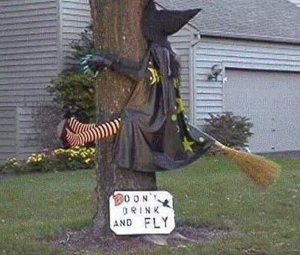 Don't drink and fly. One of my favourite halloween images. Genius. Of course there are a lot of similar images out there now, but the person who came up with this first was or is a genius.