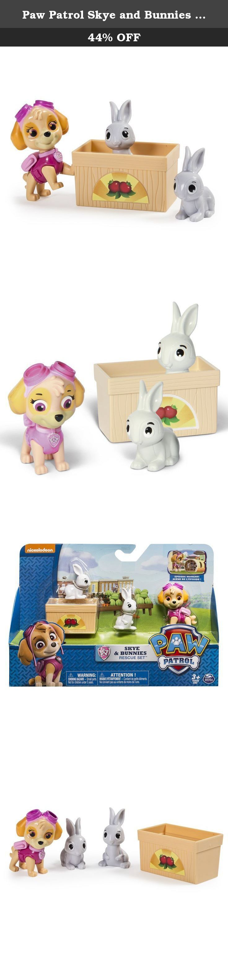 Paw Patrol Skye and Bunnies Rescue Set. This Pups gotta fly! Skye is ready for a rescue! The Bunnies need a helping hand to get to safety. Skye is ready to use her real moving legs and rescue skills to guide the bunnies to a safe location. They can even cuddle up in their cute vegetable box accessory. Discover even more Adventure Bay rescue action with Rubble, Marshall and Chase Rescue Sets. No job is too big, no pup is too small! Bring home the Skye and Bunnies Rescue and re-create all…