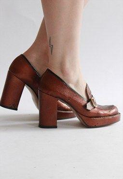 Vintage 70s Bronze Leather Platform Heels