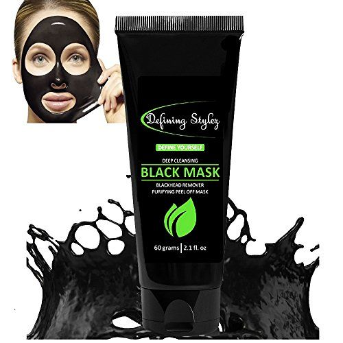 Defining Stylez Blackhead Remover Black Mask Pore Cleanser Peel Off Mask Charcoal Mask Acne & Acne Scars Blemishes Anti-Aging Wrinkles Face Mask Organic Activated Charcoal