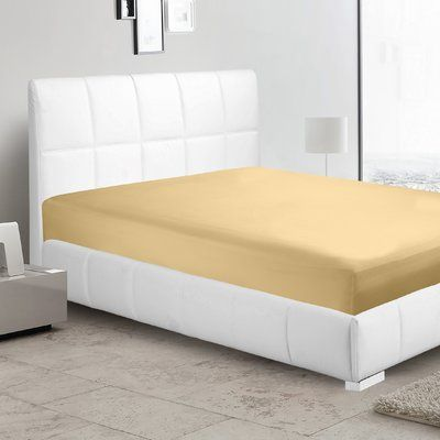 Ebern Designs Garrison 1800 Thread Count Fitted Sheet Size: Twin-XL, Color: Camel