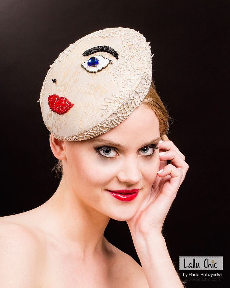 Wonderful, hand emroidered beret MISS CENTRAL PARK by LALLU CHIC COUTURE MILLINERY Hania Bulczyńsja