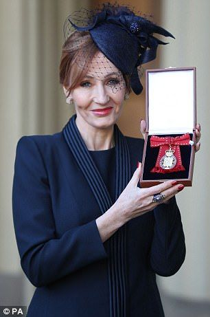 Harry Potter author JK Rowling receives a  a Companion of Honour at Buckingham Palace toda...