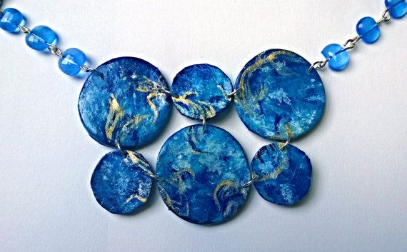Hand Painted Necklace Gold Blue Abstract by PeculiarBoutique