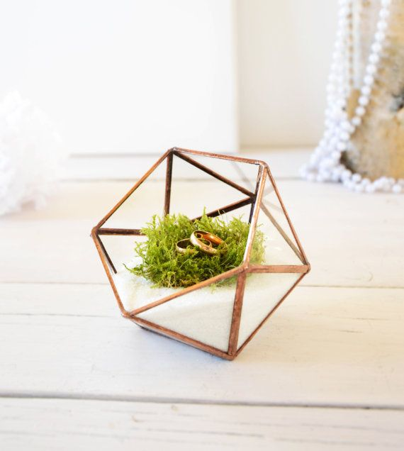 Wedding Ring Holder - Wedding Ring Box - Mini Glass Geometric Box