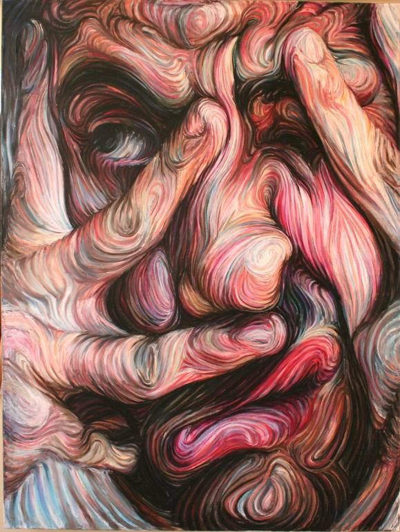 "Saatchi Art Artist: Nikos Gyftakis; oil pastel on canvas 2004 Painting ""self portrait"""