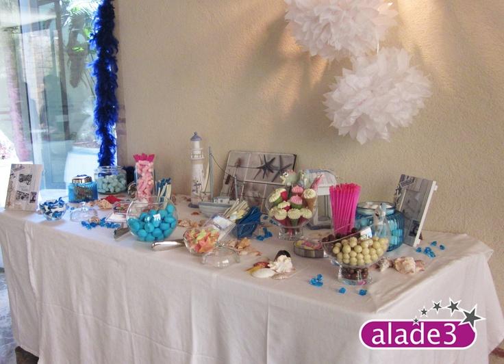 Así de bien nos quedó la Candy Bar o mesa de dulces que preparamos en la fiesta de comunión de unos niños amantes del mar.     Si quieres saber algo más sobre nuestras fiestas de animación infantil, puedes visitarnos en www.alade3.es