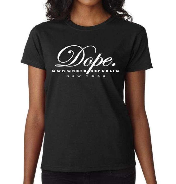 Women's Urban slang 'Dope.' tee, black tee, grey tshirts (size Sm-3X) by ConcreteRepublic on Etsy