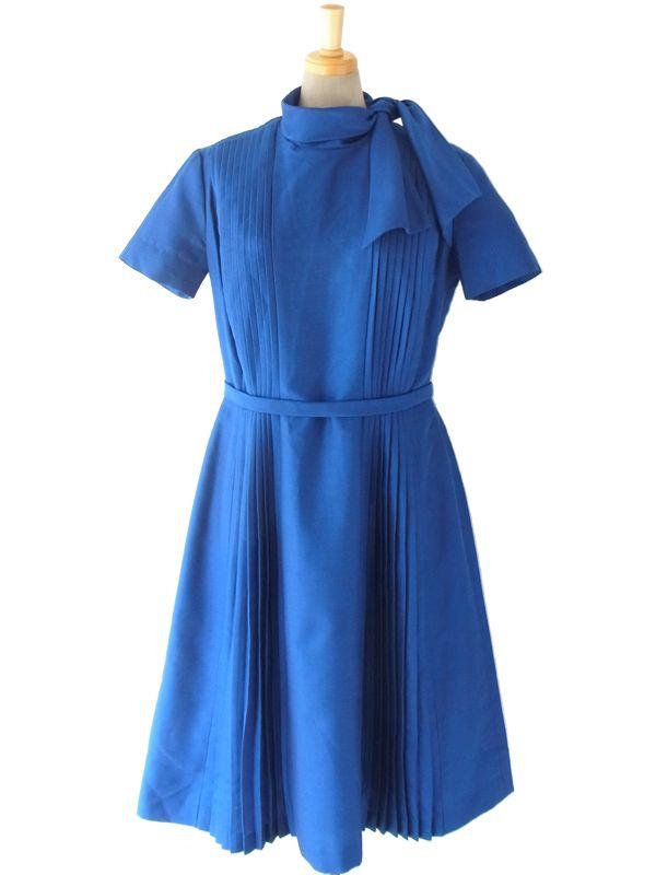 ヨーロッパ古着 ロンドン買い付け 60年代製 ロイヤルブルー X スカーフカラー プリーツ ワンピース 15BS209. レディースファッションコレクションSdc