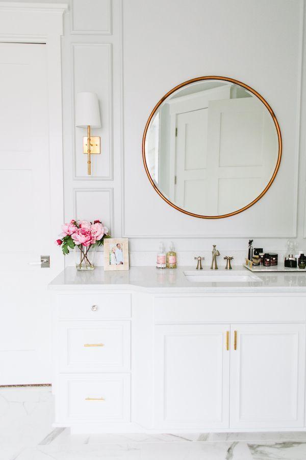 wednesday watch list | brass mirror, mirror bathroom and gold bathroom