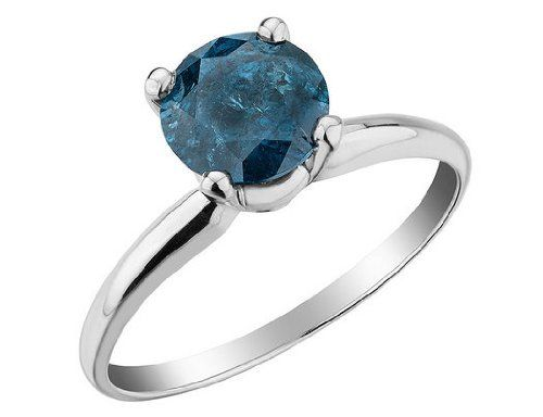 Blue Diamond Solitaire Ring 1.25 Carats (ctw) in 14K White Gold, Size 7 | Your #1 Source for Jewelry and Accessories