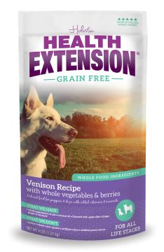 Health Extension Grain Free Venison and Chickpea dry dog food. All natural and American made. For a healthy life!