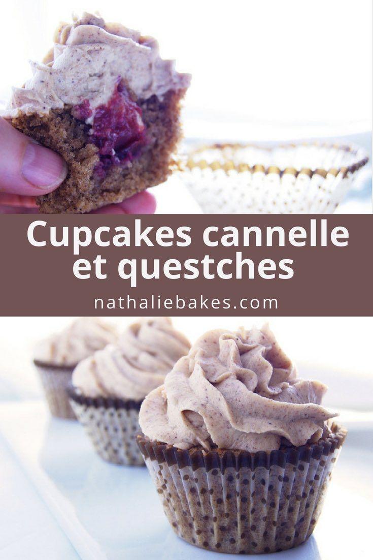 Amateursde cannelle, cette recette est pour vous! Cupcakes à la cannelle, insert de compote aux quetsches et cannelle et topping au cream cheese et à la cannelle. | nathaliebakes.com