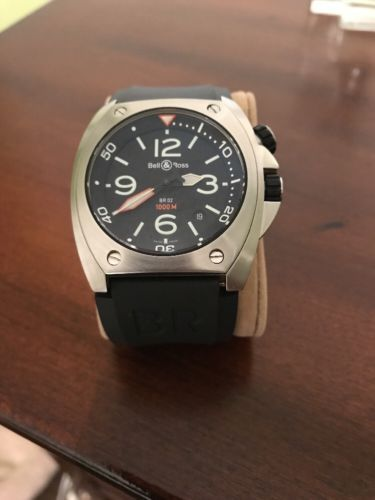 BELL& ROSS STEEL MARINE BR 02-92, 44mm/1000mm Rubber Band! !