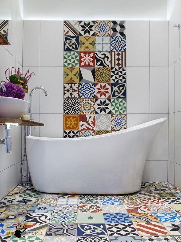 плитка в стиле пэчворк для ванной