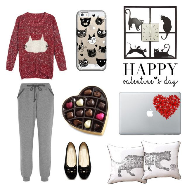 Single Cat Lady Valentine by rosehage on Polyvore featuring polyvore, fashion, style, WithChic, Calvin Klein Underwear, Casetify, Naked Decor, Universal Lighting and Decor, women's clothing, women's fashion, women, female, woman, misses and juniors