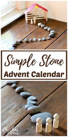 Making a homemade DIY stone advent calendar nativity scene is an fun way for kids and families to countdown to prepare for the celebration of Christmas. This craft and display idea uses stones and wooden peg dolls.The stones are representative of the journey of the wise men. If you like easy... and are not into sugary treats this is the advent for you!