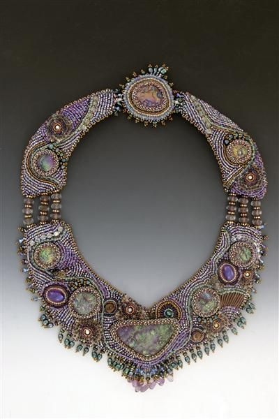 Sonrisa bead embroidered necklace.