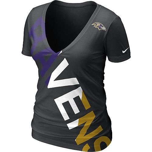 Baltimore Ravens Women's Black Nike Off-Kilter Tri-Blend Deep V-Neck T-Shirt